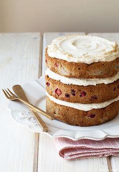 Poached Pear & Cranberry Cake | by Tessa Huff | TheCakeBlog.com