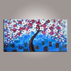 Flower Tree Painting, Abstract Art Painting, Painting on Sale, Canvas – Art Painting Canvas Acrylic Painting Flowers, Hand Painting Art, Painting Abstract, Texture Painting, Painting Canvas, Acrylic Paintings, Painting Tips, Acrylic Art, Abstract Landscape
