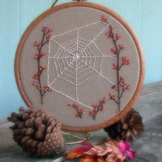 Oh My Sweet Orb Weavers, Beautiful fall embroidery by Janine Gardner