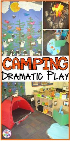 Camping Dramatic Play: How to set it up in your preschool, pre-k, tk, and kindergarten classroom. This is a great preschool homeschool natural Montessori style play and learning dynamic. Camping Dramatic Play, Dramatic Play Themes, Dramatic Play Area, Dramatic Play Centers, Preschool Dramatic Play, Preschool Rooms, Preschool Centers, Preschool Camping Theme, Preschool Summer Camp