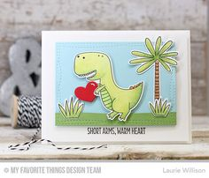 You're Rawr-some Stamp Set and Die-namics, Wonky Stitched Rectangle STAX Die-namics - Laurie Willison  #mftstamps