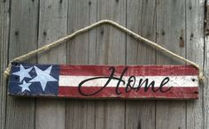 US Flag Sign Patriotic Decor Stars and by GECottonwoodCottagePatriotic wood sign. Hand crafted and painted. DIMENSIONS 3.5 X 20 X.5