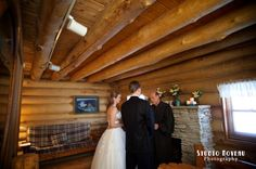 """Intimate...Rustic Wisconsin Wedding... inside """"Paul Bunyan"""" a Scandinavian Full-Scribe log cabin made from logs grown @ Justin Trails Resort. Stay for the weekend & say """"I do."""" Luxury 2-story cabin: King & Queen log beds, full kitchen, whirlpool...rustic private secluded resort...intimate to over-the-top-WOW weddings... justintrails.com 608.269.4522 minutes from I-90 & Hwy 27 at Sparta Wisconsin. ★ Beautiful photography-Studio Noveau studionoveau.com"""