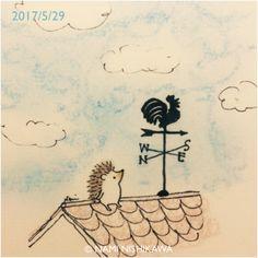 What do you see, weathercock? Hedgehog Drawing, Baby Hedgehog, Hedgehog Illustration, Illustration Art, Kawaii Drawings, Easy Drawings, Cute Bunny Cartoon, Doodle, Japanese Artists