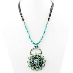 Boho Turquoise bead Flower  Necklace