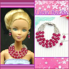 dolls jewelry set doll necklace and earring for dolls por sinogem