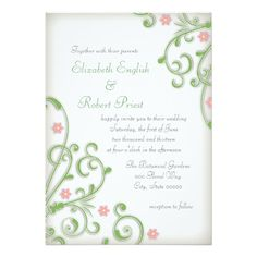 Delicate and Elegant Floral Pink and Green Wedding Invites
