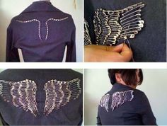 DIY Angel Wings on jacket using pins Diy Angel Wings, Diy Wings, Fashion Details, Diy Fashion, Safety Pin Art, Safety Pins, Revamp Clothes, Refashioning Clothes, Sewing Clothes