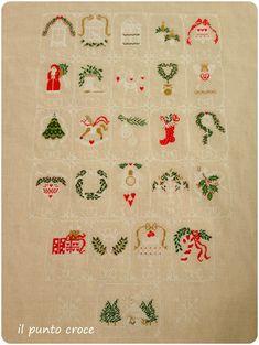 Cross Stitch Christmas Stockings, Christmas Cross, Christmas Ornaments, Xmas, Cross Stitching, Cross Stitch Embroidery, Cross Stitch Designs, Cross Stitch Patterns, Vintage Box