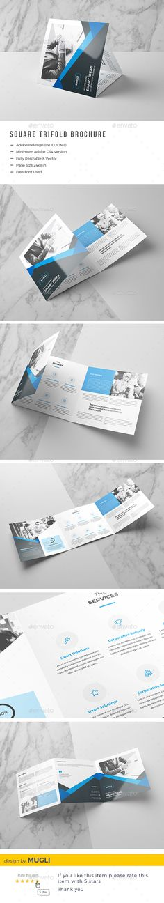 Square Trifold Brochure by Mugli Features Fully Layered indd& idml files Size: 24脳8 in (0.125 in bleed) Easy Customizable and Editable Optimized for printing CMYK
