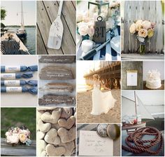 """Vintage nautical wedding: If you want some rustic romance tied into your vintage nautical theme, have muted tones and lots of texture.  We are in love with the drift wood escort cards!  And have a sign up that says """"Let the wind guide you."""" The guestbook could be paddles for guests to sign, that you can hang in your new home."""