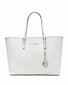Michael Kors Jet Set Medium Perforierten Reise Tote Weiß deutschland #fashionhandbags#jewellery|#jewellerydesign}