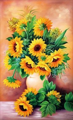 Diamond art is beautiful and we've got the best diamond painting kits around! Check out our what is diamond painting guide for diamond painting tips Wine Bottle Crafts, Mason Jar Crafts, Mason Jar Diy, Sunflower Bouquets, Sunflower Art, Hyacinth Flowers, Painted Vases, Diamond Art, 5d Diamond Painting