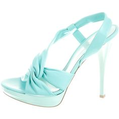 Pre-owned Gianvito Rossi Sandals ($275) ❤ liked on Polyvore featuring shoes, sandals, heels, blue, leather platform sandals, strappy sandals, blue strappy sandals, blue leather shoes and leather strap sandals