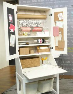 Hidden wrapping papers and ribbons and organizing and inspiration boards...!!! Genius!!! Just GENIUS!!! Ikea secretary desk canada