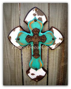 Wall Cross - Wood Cross - X-Small - White & Brown Cow Print, Antiqued Turquoise, with Iron Cross (can be made in other colors too) Crosses Decor, Wood Crosses, Turquoise Walls, Cross Art, Wall Wood, Jesus On The Cross, Antique Decor, Cross Designs, Cow Print