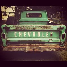 Old Chevy pickups; real workhorses; this pinner's comment:  love all the dents and dings that give them character; made a woodburning of an old rusty pickup for my brother