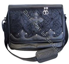 Dark Star - Leather Look Messenger Bag w/ Cobweb Panel - Black Gothic Accessories, Fall Accessories, Gothic Jewelry, Plus Size Gothic Dresses, Angel Outfit, Dark Star, Bag Sale, Saddle Bags, Messenger Bag