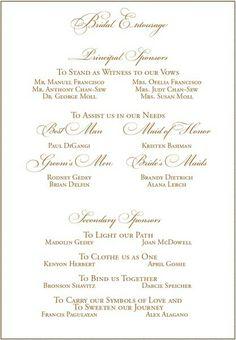 Wedding list on bridal entourage list invitation ideas pinterest sample wedding program to feature sponsors stopboris Gallery