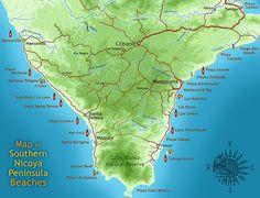 Map of Southern Nicoya Peninsula Beaches