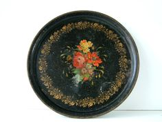 Antique French hand painted black and gold tole tea tray. 1880's - 1910's. Serving tray. French country. Shabby chic.