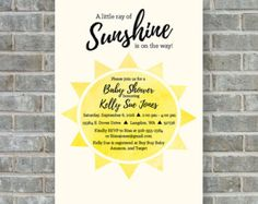 A Little Ray of Sunshine Baby Shower Invitation  My by PrairieMint