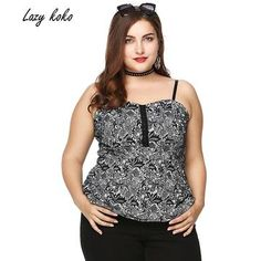 596f8143ab751 Lazy KoKo Plus Size Women Spaghetti Strap Cami Tops Summer Lace Floral  Pattern Peplum Camisole Vests