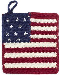 American Flag Crochet Potholder