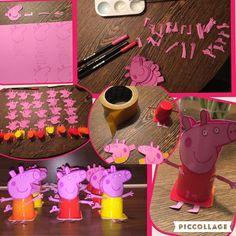 Traktatie Feija 2 jaar op KDV. Peppa big (Peppa pig) van danoontjes.   -vellen roze karton -stiften (roze en zwart) -witte verf -(dubbelzijdig) plakband -danoontjes  -schaar