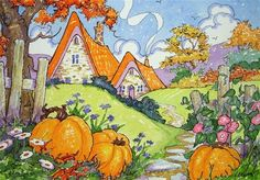 """Daily Paintworks - """"An Autumn Cottage Welcome Storybook Cottage Series"""" - Original Fine Art for Sale - © Alida Akers"""