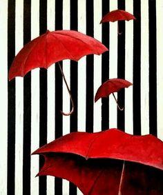 . Umbrella Art, Under My Umbrella, Red Brolly, Arte Black, Parasols, Ivy House, Damier, Black And White Aesthetic, Wow Art