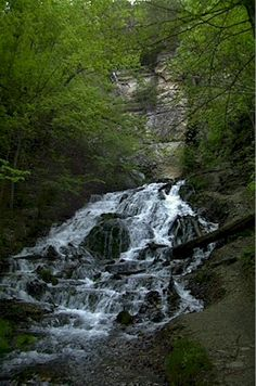 Dunning Springs waterfall. One of the best places for a study break when you're at Luther College. A pretty easy walk from the campus and back.
