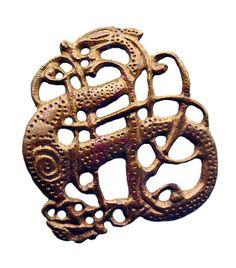 Urnes style bronze openwork brooch found at Lindholm Høje