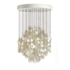 cascading mother of pearl chandelier. shimmering luxe.