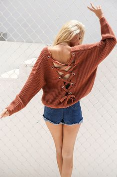 aa7df476a6 Sexy backless knitted lace up back sweater
