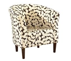 Modern Accent Chair by Powell features a barrel-shaped chair in modern floral fabric upholstery and merlot- finished legs Powell Furniture, Home Furniture Online, Floral Accent Chair, Accent Chairs, Old Chairs, Outdoor Chairs, Black Chairs, Patterned Chair, Barrel Chair