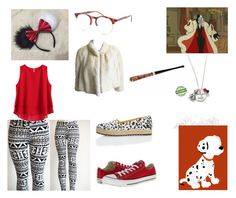 """I'm Cruella De Vil for Halloween"" by keneko17therainbowprincess ❤ liked on Polyvore featuring Converse, Urban Renewal, Shakuhachi and Guy Laroche"