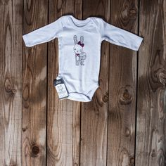 Long sleeve vest Bunny with pink heart 0-3 months