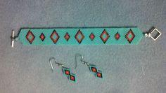Peyote stitch bracelet and brick stitch earrings using Delica glass beads.