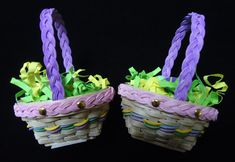 Introducing our 2018 Micro Mini Easter Basket!  Features a braided handle and braid trim.  Also comes with Easter Grass and eggs!!  $25.00 Easter Baskets, Plant Hanger, Braid, Miniatures, Eggs, Handle, Heart, Crafts, Egg