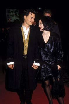 Johnny with Winona Ryder at the premiere for the movie Edward Scissorhands on December 6th, 1990