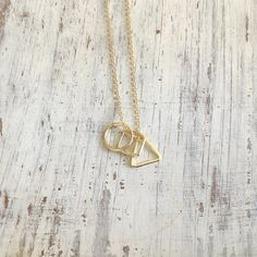 Long geometric necklace triangle square circle pendants necklace