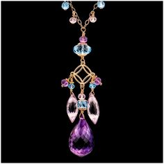 Amethyst and Topaz 18k & 14k Yellow Gold Necklace, Shop Rubylane.com