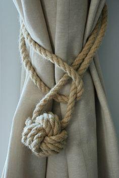 Hemp Rope Tiebacks/ Rustic Hemp Rope ties/ Monkey Fist Knot Curtain Tiebacks / shabby chic windows/ Rope Tiebacks/ nautical ties/ Ball ties by AndreaCookInteriors on Etsy https://www.etsy.com/listing/277000948/hemp-rope-tiebacks-rustic-hemp-rope-ties