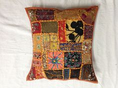 Designer Indian Handmade Vintage sari cushion by VishalHandicrafts, $11.99
