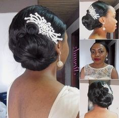 50 Short Wedding Hairstyles for Black Women We can imagine your excitement and desire to look awesome on the big day. The choice of a wedding hairstyle is as important as the choice of your brid. Black Wedding Hairstyles, Formal Hairstyles, Bride Hairstyles, Black Women Hairstyles, Side Bun Wedding, Short Wedding Hair, Wedding Updo, Natural Hair Care, Natural Hair Styles