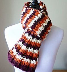 Virginia Tech Scarf - Chunky Knit Scarf - Hokies Maroon and Orange Scarf Chunky Knit Scarves, Fall Scarves, Fall Knitting, Orange Scarf, Virginia Tech, Back To School Gifts, Sewing Projects, Mens Fashion, Trending Outfits
