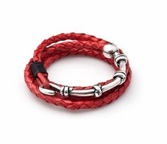 Unisex Kabbalah Red Woven Leather Bracelet with Silver Half Moon and Black String - 4 Hoops - Customizable & Handmade per Order