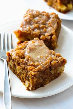 Glazed Apple Crumb Cake ~have it with coffee the morning. Moist, rich, great flavor. Definitely a keeper.