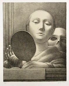 "George Tooker (American, 1920-2011), ""Mirror,""  1978; Indianapolis Museum of Art, Fisk Landers Memorial Fund, 1989.17; © George Tooker"